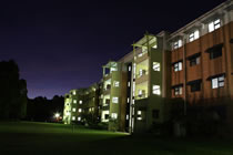 Campus East at night
