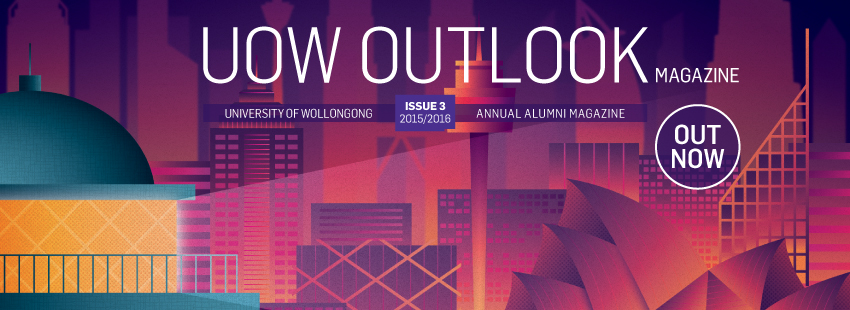 UOW Outlook Magazine web header with masthead
